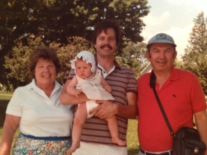 with Dad, Grandma and Grandpa in the 80's