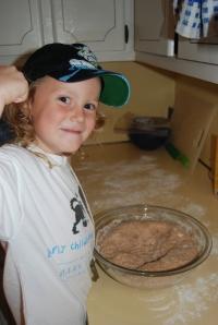 Ben gearing up to beast the dough