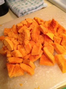 peel and chop a small pumpkin (or butternut squash, or a large sweet potato)