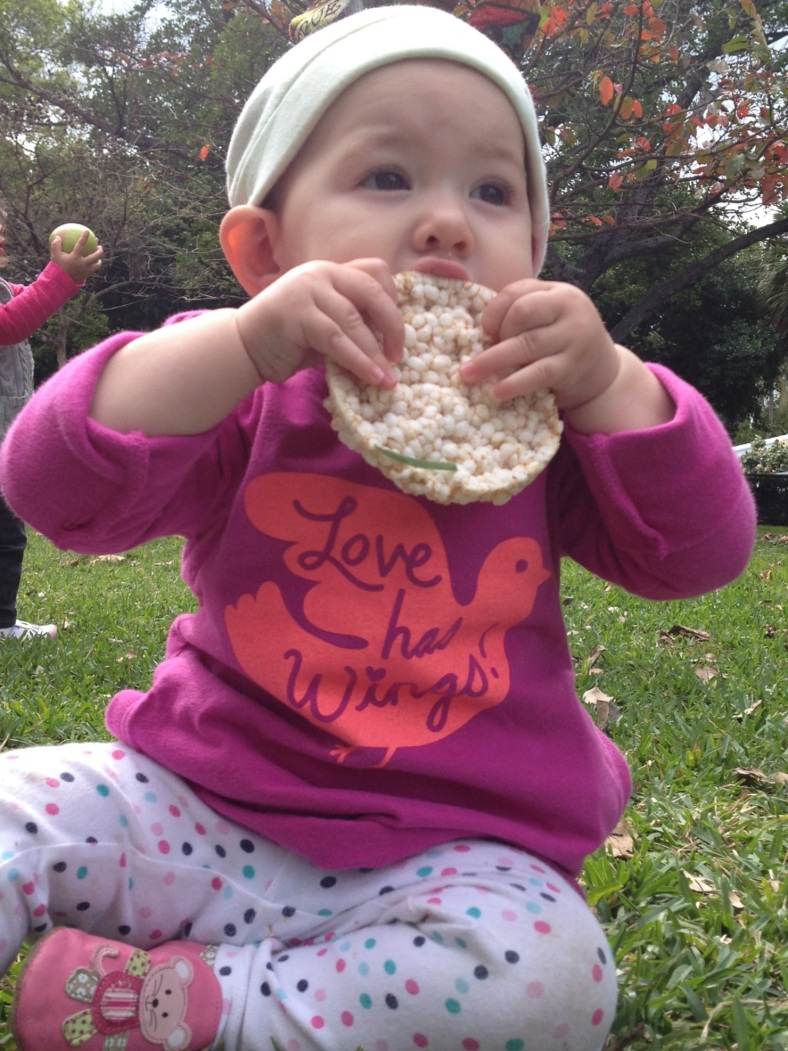 This girl loves a good rice cake.