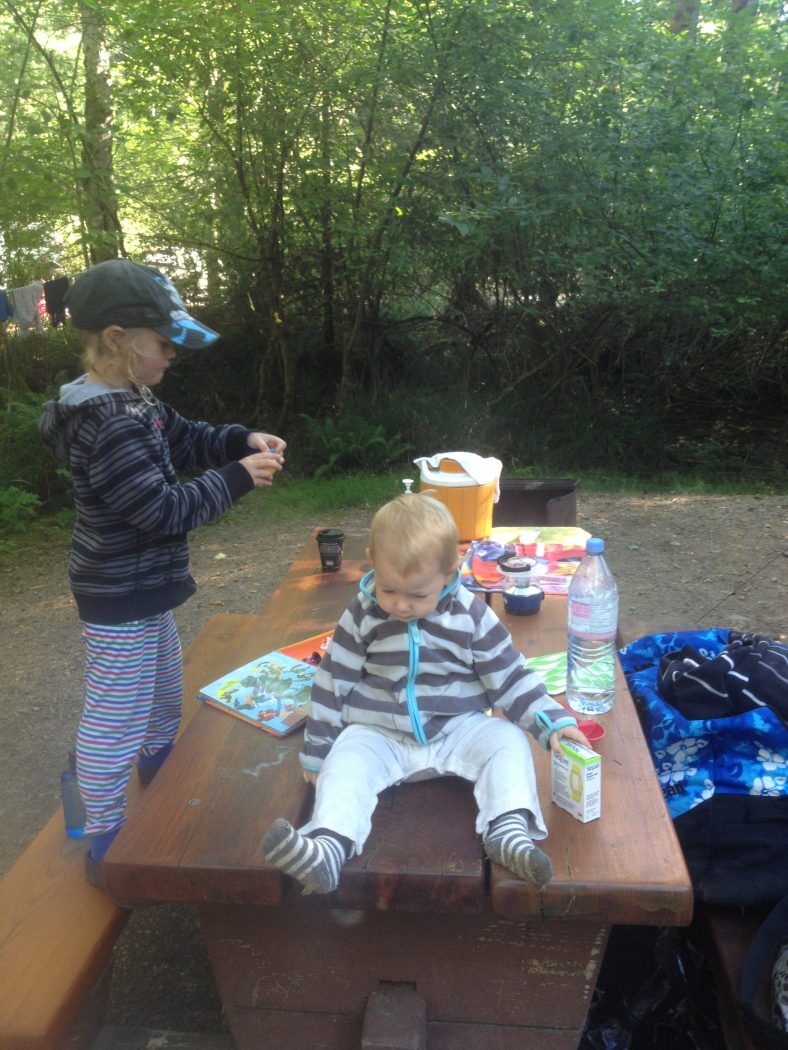 The kids, rocking the camping lifestyle.