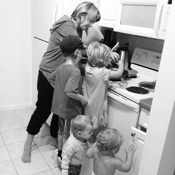 My friend Zinta cooking with my kids and her kids, bless her heart!