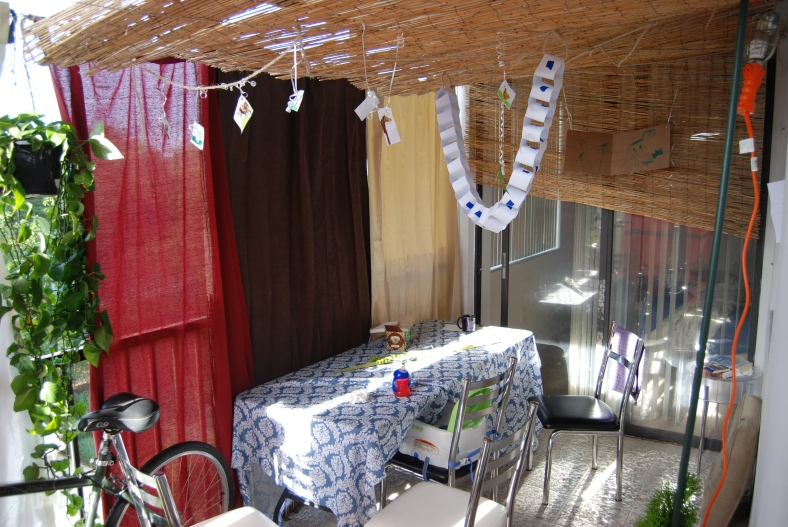 Our balcony sukkah.