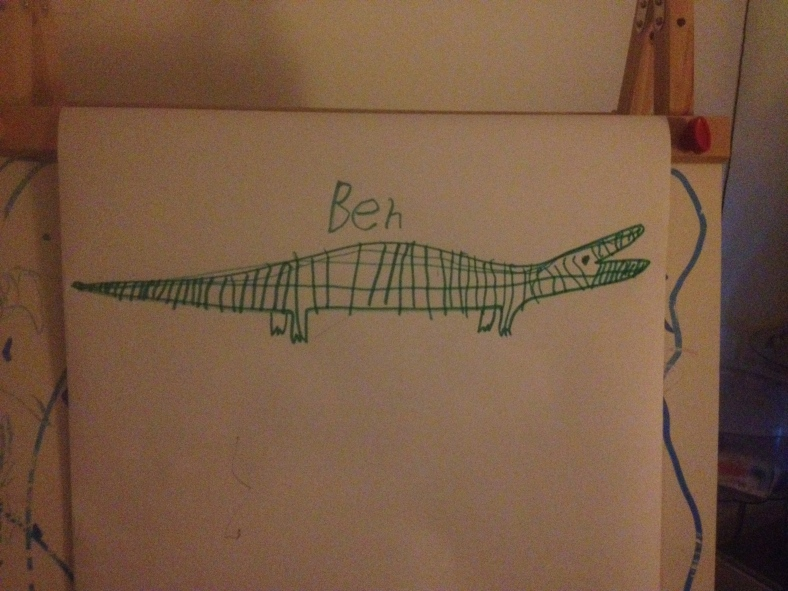 Ben the alligator. Shape by me, design and name by Ben.