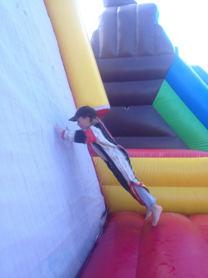 Not only did this particular pumpkin patch have a bouncy castle, it had a fly wall!