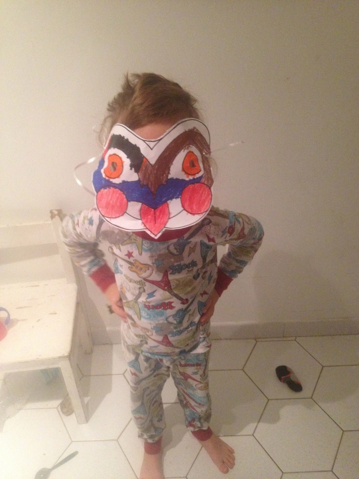 Ben showing off the awesome aboriginal mask he made at our new favorite museum.