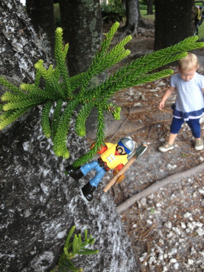 """Ben's toy friend having an adventure on one of our neighborhood """"nature walks""""."""