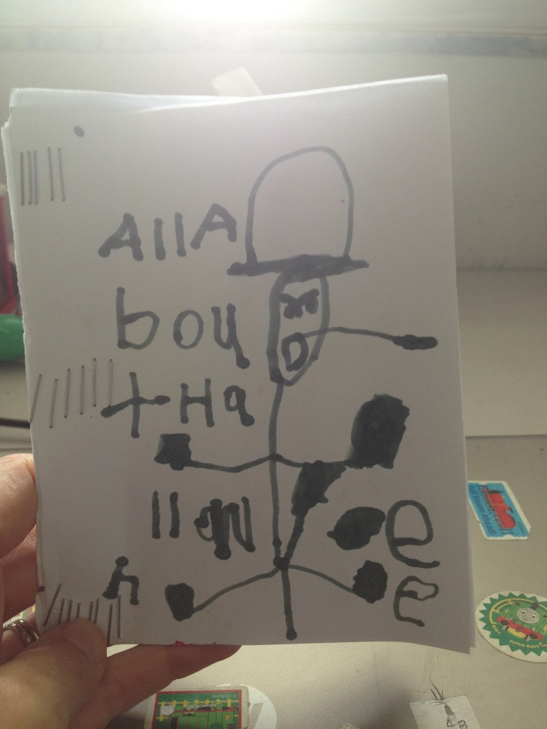 """All About Halloween"" My super Jewish kid is obsessed with Halloween! He decided to make a book about it, constructed the book himself, wrote the title and drew about twelve different pictures. I included two of my favorites below."