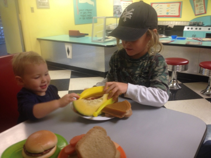 Lunch is served! Ella couldn't believe it was plastic.