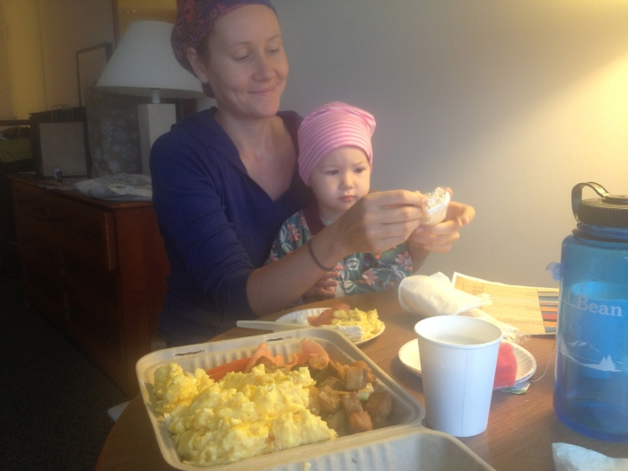 We were so busy meeting people and chasing the kids and attending sessions that we really didn't take many photos at the conference! Here is one of Ella and I enjoying breakfast on our last morning.