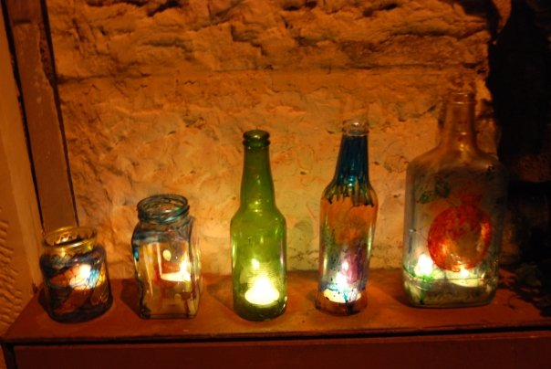 Our downstairs neighbor's menorah made out of glass bottles. They were artists and actually sawed the bottles in half to make it.