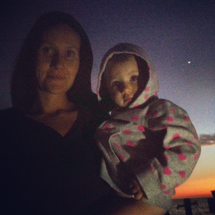 Me and Ella camping, with the north star shining bright in the background.