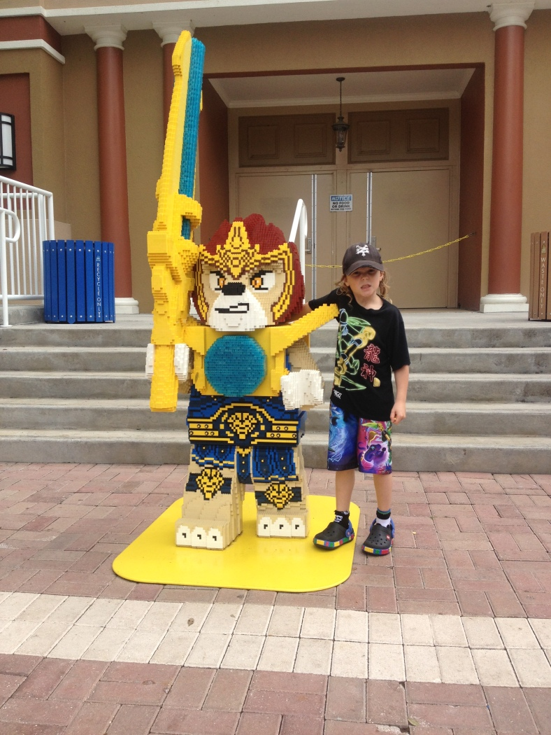 Ben hamming it up with the Lego version of his favorite Chima character...