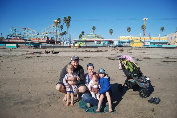 Our first trip to the ocean, in Santa Cruz.