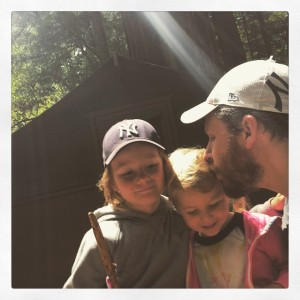 Mo's forest selfie with the kids on Friday.